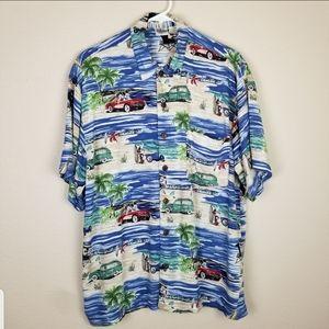 "Disney| Mickey mouse ""Hawaiian"" button up shirt"